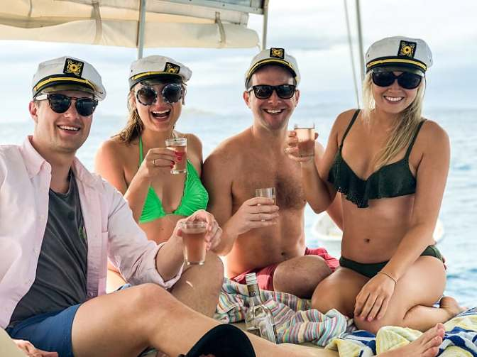 Drinking with sailors hats, sailing in Fiji, sailing adventure