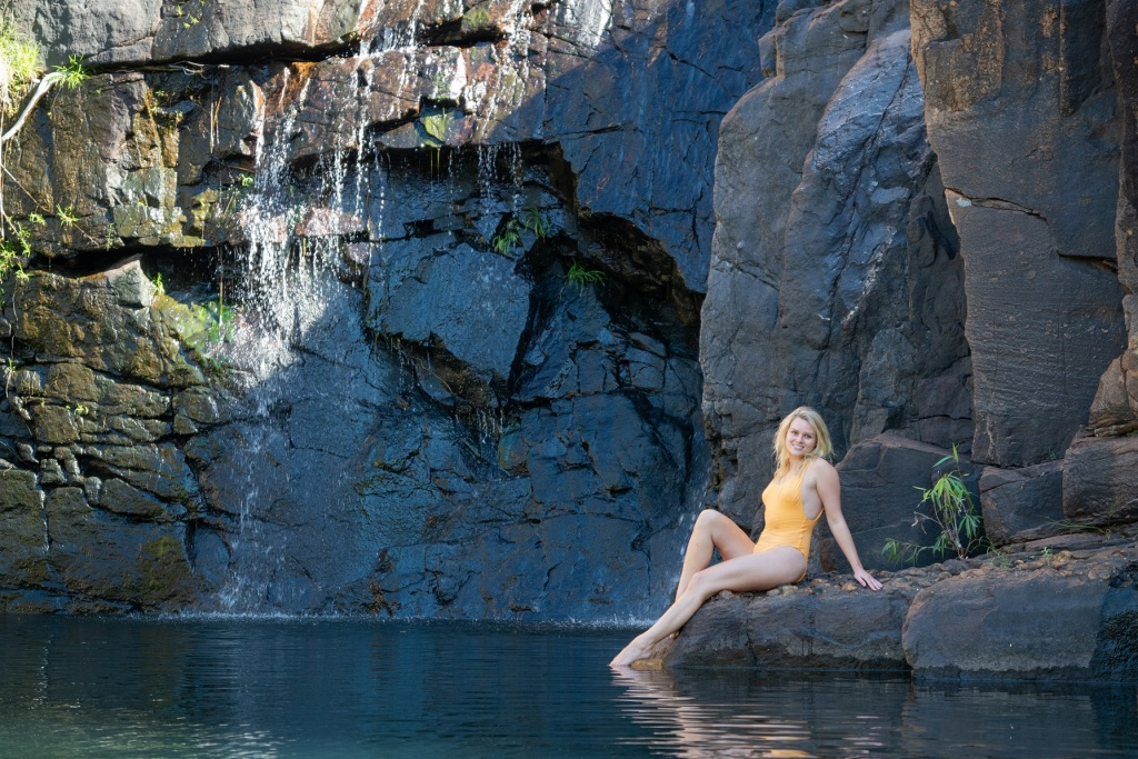 Wild swimming plunge pool, Nitmiluk gorge, Katherine gorge, Nitmiluk National Park, Katherine River, Top End, Northern Territory, Australia