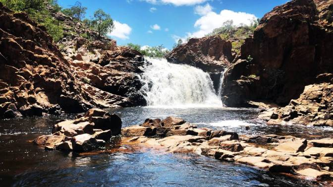 Wild swimming plunge pool, Edith Falls, swimming by waterfalls, Nitmiluk National Park, Katherine, Top End, Northern Territory, Australia